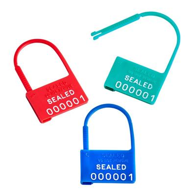 Padlock Plastic Safety Control Seals w/Numbers - Blue, 100/CS