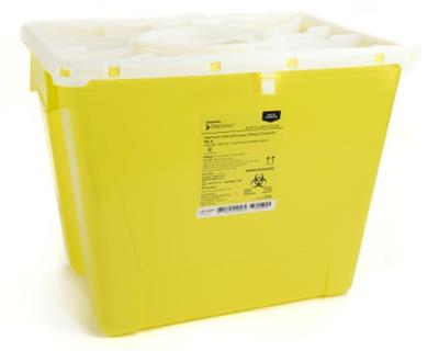 "Sharps Container, 13.5H x 17.3W x 13L"", Locking Lid, Non-Sterile, Yellow -Chemo, 8 Gallon"