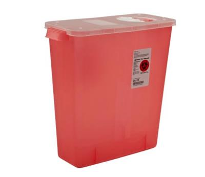 Multi Purpose Sharps Container 1-Piece 13.75H X 13.75W X 6D Inch 3 Gallon Translucent Hinged, Rotor Lid 10/case