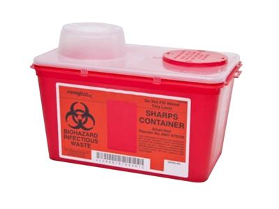 Multi Purpose Sharps Container Monoject 1-Piece 7.08H X 6.75W X 10.56D Inch 4 Quart Red Chimney Top