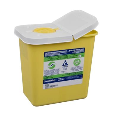 ChemoSafety Sharps Container, 2 Gallon, Yellow, Hinged Lid 20/case