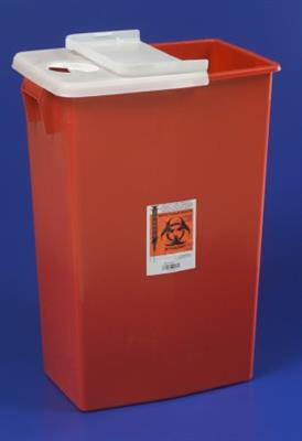 Multi Purpose Sharps Container Biomax 1-Piece 26H X 18.25W X 12.75D Inch 18 Gallon Red Hinged Lid 5/case