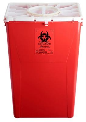 18Gal, 60Lt, Sharps Red Waste Container w/Duo lid 7/CS