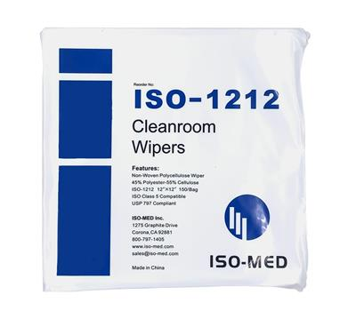 "Cleanroom Wipe 12"" x 12"" Non-Woven Polycellulose Wiper, 50% Poly - 50% Cellulose , Double Bagged 150 wipe/bag, 10 bags/case"