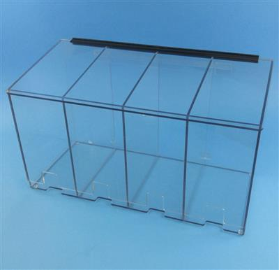 "4 Compartment Dispenser for Sterile Gloves, 30""w x 16""h x 12""d, 1/4"" Clear PETG material"