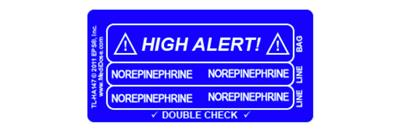 Line Tracing Label - NOREPINEPHRINE White Text on Medium Blue Background 1000/Labels/roll