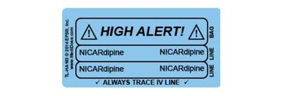 Line Tracing Label - NICARdipine Black text on Light Blue Background 1000/Labels/roll