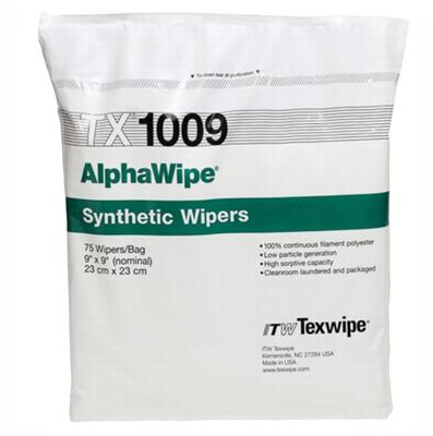 "AlphaWipe 9"" x 9"" (23 cm x 23 cm) Polyester wipes 150 wipes/bag, 10 bags/case = 1500 wieps per case"